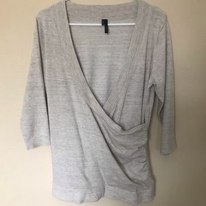 Maurices Gathered 3/4 Sleeve Surplice Blouse